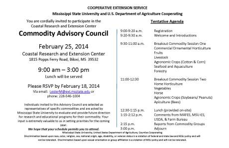 2014 COMMODITY ADVISORY COUNCIL AT COASTAL RESEARCH & EXTENSION CENTER